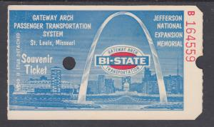 St. Louis Gateway Arch, Souvenir Bi-State Transportation Ticket, VF