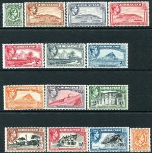 GIBRALTAR-1938-51 Set to £1 Sg 121-131 MOUNTED MINT V30165