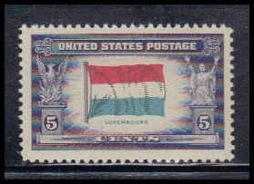 912 5c Flag of Luxembourg Fine MNH W3809
