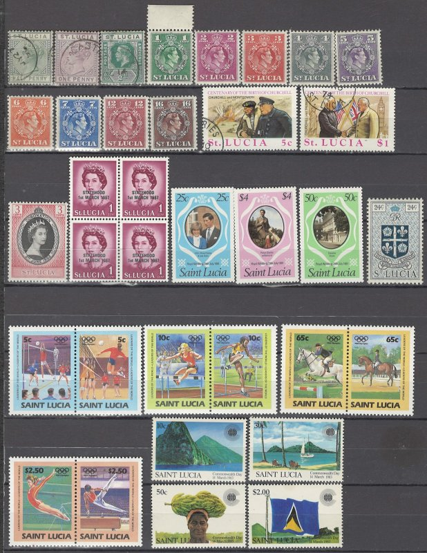 COLLECTION LOT OF #1014 ST LUCIA 35 STAMPS 1883+ CV+$33 (KG6=MNH)