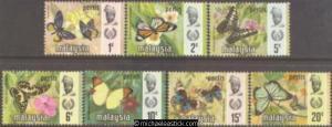 1971 Malaya Perlis Butterfly, set of 7, SG 48-54, MUH