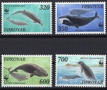 Faroe Islands MNH 208-11 Whales Marine Life WWF 1990