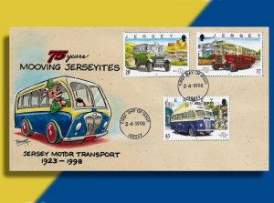 Jersey Celebrates 75 Years of Bus Service w Cows at the Wheel!  Handcolored FDC