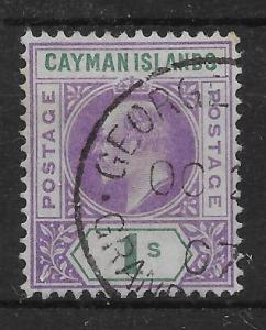 CAYMAN ISLANDS SG15 1907 1/= VIOLET & GREEN USED