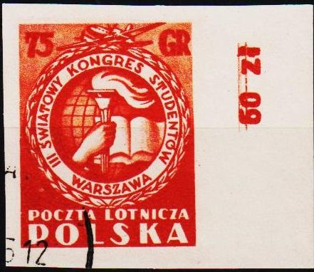 Poland. 1953 75g (Imperf) S.G.822 Fine Used