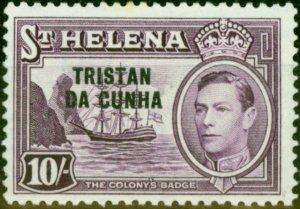 St Helena 1952 10s Purple SG12 Good MNH