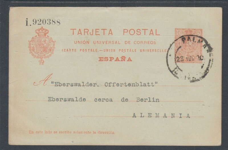 Spain H&G 49 used. 1910 10c Postal Card, Las Palmas - Berlin, Germany, clean