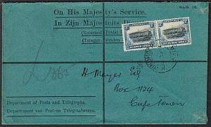 SOUTH WEST AFRICA 1931 3d pair on OHMS cover Windhoek to Cape town.........18333
