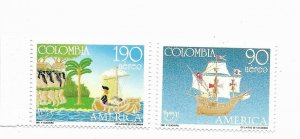 COLOMBIA 1991 DISCOVERY OF AMERICA 2 VALUES MNH SHIPS NATIVE AMERICAN HISTORY