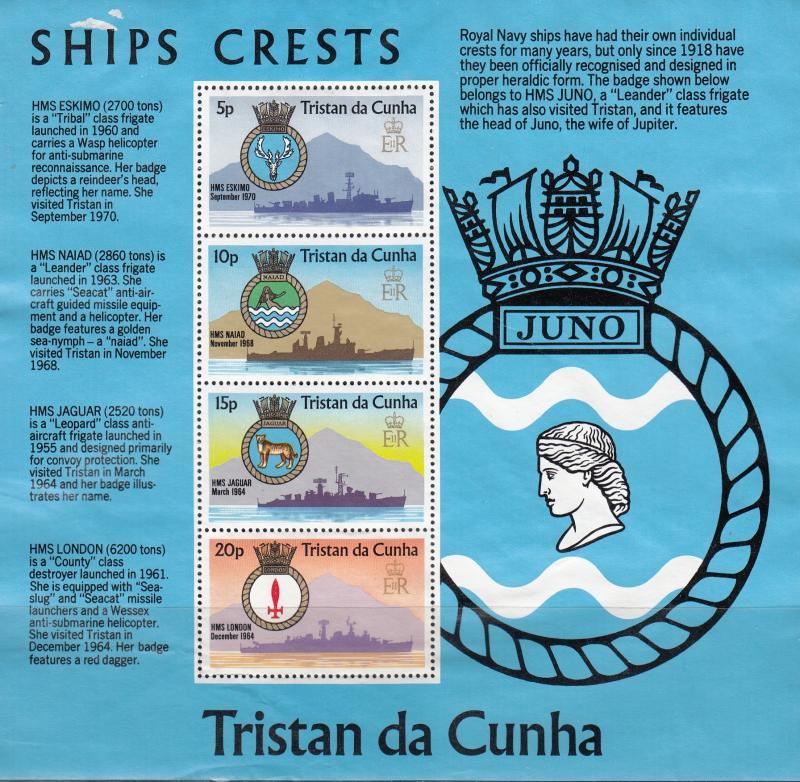 Tristan da Cunha MNH S/S 219A Royal Naval Ships & Crest