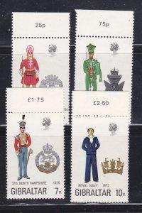 Gibraltar 286-289 Set MNH Military Uniforms (A)