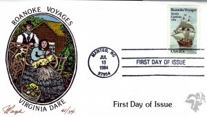 Pugh Designed/Painted Roanoke & Virginia Dare FDC...41 of Only 54 created!