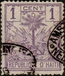 HAÏTI - 1890s Mi.22 1c violet Palm Tree used DUTCH SHIP CANCEL