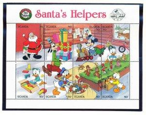 UGANDA - Scott 648-640 VFMNH  DISNEY Santa's Helpers - 2 scans - 1988