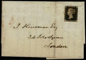 GB #1 VF ON FOLDED LETTER TIED BY RED MALTESE CROSS CANCEL CV $600.00 BQ2057