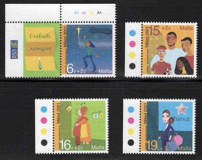 MALTA  Scott B81-B84 MNH** Christmass 2001 semi-postal set