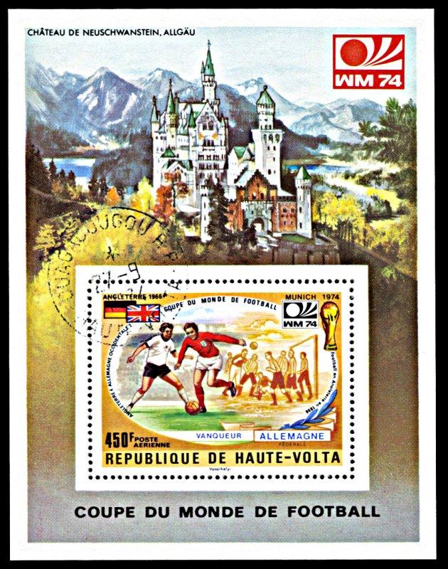 Upper Volta C196, CTO, World Cup Football History souvenir sheet
