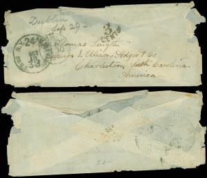 1867 STAMPLESS COVER, U.S 33 NOTES NY SCARCE MARKING, DUBLIN TO CHARLESTON SC!