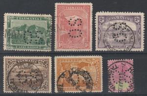 TASMANIA 1904 QV PICTORIAL RANGE TO 1/- PERF OS USED