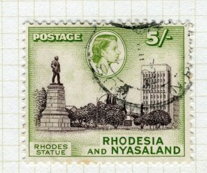 RHODESIA; & NYASALAND 1959 early QEII issue fine used 5s. value