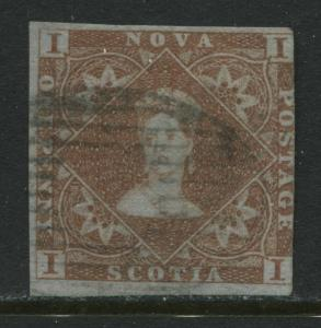 Nova Scotia 1853 1d red used