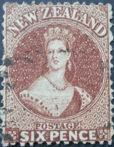 New Zealand 1867 Six Pence SG 122a used