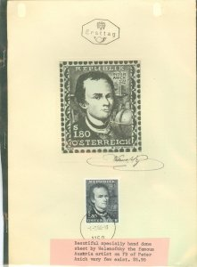 Austria 3 issues on souvenir pages w/ 1st day cancels + paintings by Welenofsky