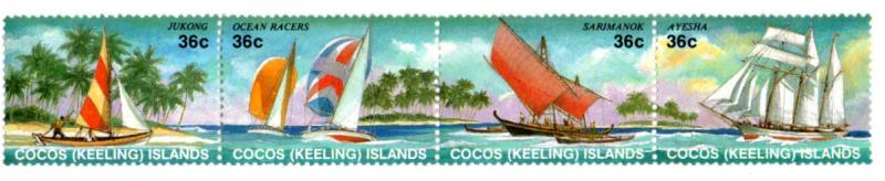 COCOS ISLAND 158 MNH STRIP/4 SCV $6.00 BIN $4.00 PEOPLE