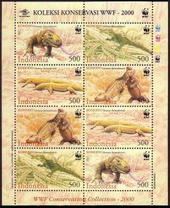 Indonesia WWF Komodo Dragon Sheetlet of 2 sets SG#2620-2623 MI#2005-2008