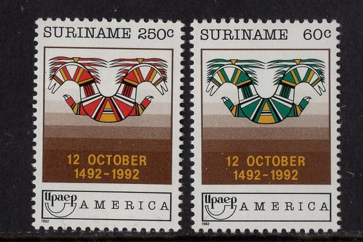 Surinam  #932-933  1992  MNH  discovery of America