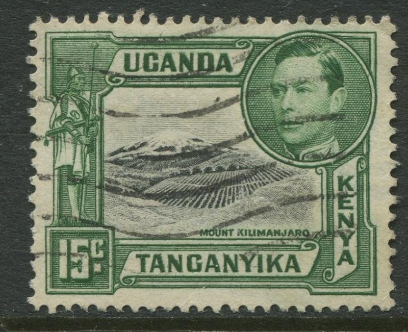 Kenya & Uganda - Scott 73 - KGVI Definitive -1943 - Used - Single 15c Stamp