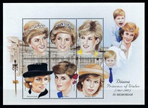 [101353] Central African Rep. 1997 Royalty Princess Diana in Memoriam Sheet MNH