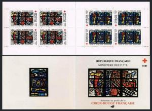 France B539a booklet,MNH.Red Cross-1981:Stained-glass window,Church Sacred Heart