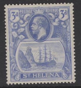 ST.HELENA SG101b 1923 3d BRIGHT BLUE TORN FLAG MTD MINT