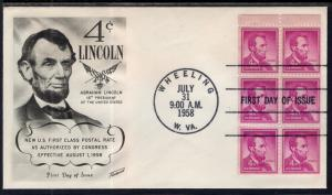 US 1036a Lincoln Booklet Pane Fleetwood U/A FDC