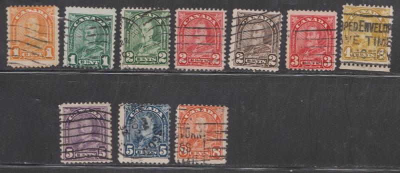 CANADA - Scott # 162//72 Short Set (NO # 171) Used King George V Arch Issue