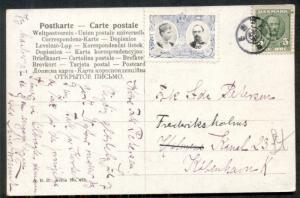 DENMARK 1907 ESPE Star Cancel ties 5ore w/Christmas seal on postcard, VF