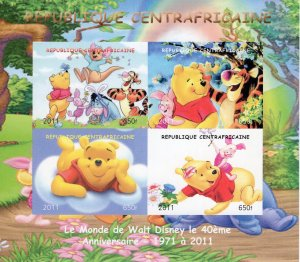 Central African 2011 Disney 40th.Anniversary Winnie the Pooh Sheetlet IMPERF.MNH