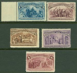 EDW1949SELL : USA 1893 Scott #230-31, 234-36 Mint NH. Very Fresh. Catalog $483.