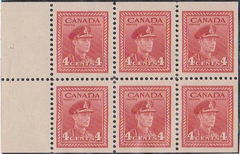 Canada - USC #254a Mint VF-NH 1943 4c KGVI War Pane of Six - Cat. $10.50