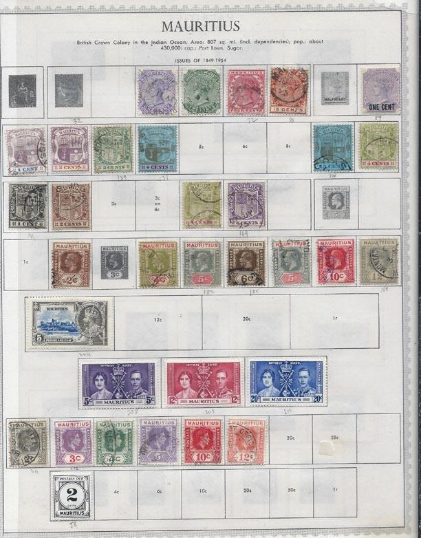 Mauritius to 1954. Mounted album pages [m/u] plus loose