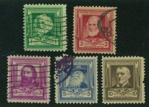 US 1940 Famous Americans:  Poets, Scott 864-868 used, Value = $2.25
