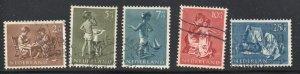 Netherlands Sc B271-75 1954 Child Welfare stamp set used