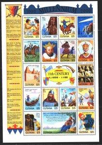 Guyana. 1999. Small sheet 6695-11. Millennium History. MNH.