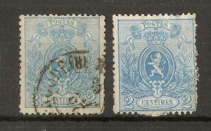 Belgium 1866 2c Lion SG41 (2v)