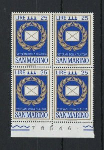 SM3) San Marino 1972 Veterans Of Philately Award MUH block of 4