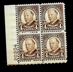 US 1930 SC# 685  4 c William Taft - Mint NH  Plate Block of 4 - Vivid Color