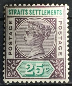 MALAYA 1892-99 STRAITS SETTLEMENTS QV 25c MLH SG#103 M2719