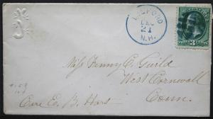 US Cover Fancy Cancel - Blue Circular Grid Milford NH to W Cornwell CT  S1151