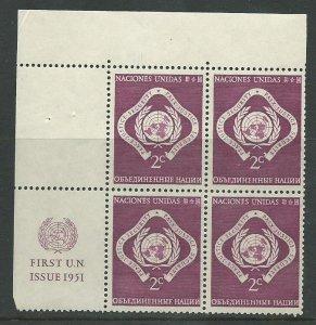 UN New York 3   PB   M NH VF  1951  PD